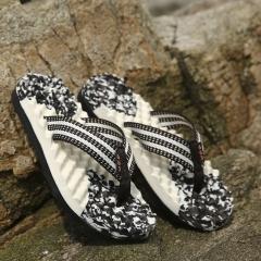 Casual Plaid Stripes Men Sandals Slippers Summer Fashion Men Outdoor Casual Beach Shoes Flip flops brown 39