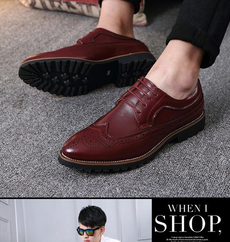 2017 Vintage Leather Men Dress Shoes Business Formal Brogue Pointed Toe Carved Oxfords Wedding Shoes brown 42 19