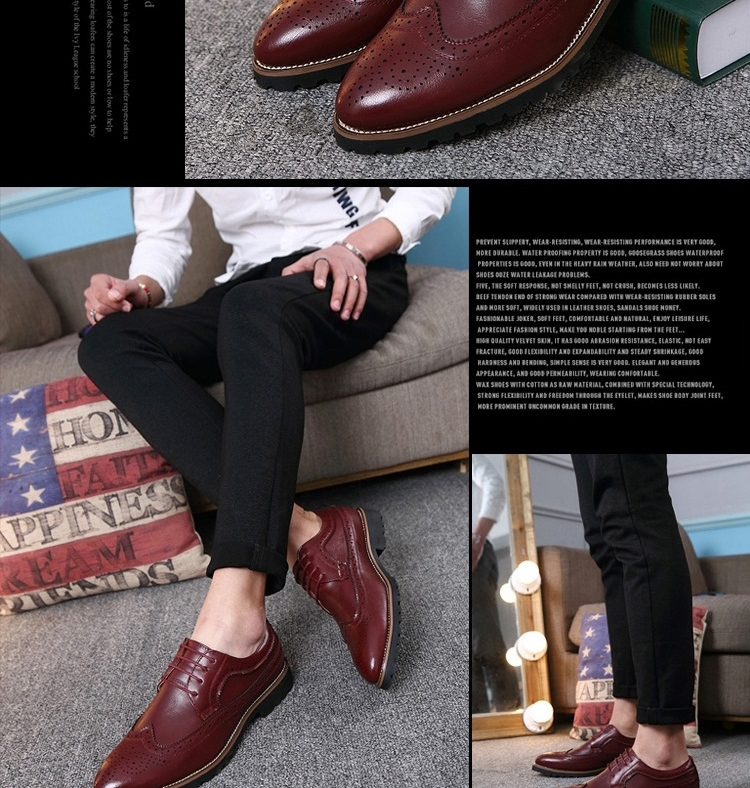 2017 Vintage Leather Men Dress Shoes Business Formal Brogue Pointed Toe Carved Oxfords Wedding Shoes brown 42 21