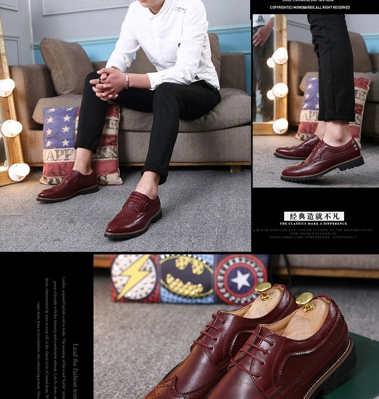 2017 Vintage Leather Men Dress Shoes Business Formal Brogue Pointed Toe Carved Oxfords Wedding Shoes brown 42 20