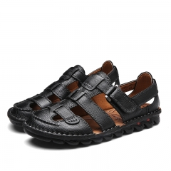 2017 Summer Mens Leather Sandals Gladiator Casual Beach Slide Shoes Open Toe Breathable Holes black 39