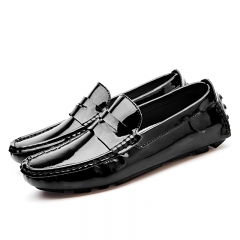 Big Size Summer Style Soft Moccasins Men Loafers Leather Shoes Men Flats Gommino Driving Shoes black 39