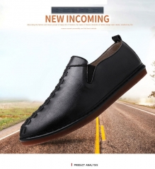 New Autumn Fashion British Style Men Causal Shoes Leather Slip On Men Shoes black 39