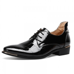 Men's Leather Dress Shoes Patent Leather Casual Low Heel Oxfords For Men black 39