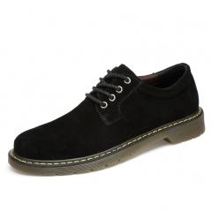 Winter Warm Men Shoes Suede Leather Casual Flat Shoes Lace-up Men's Flats for Man Rubber Outsole black 39