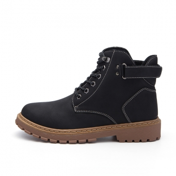 Keep Warm Men Winter Army Boots High Top Men Work & Safety Resisting Boots Waterproof Lace-up Male black 43