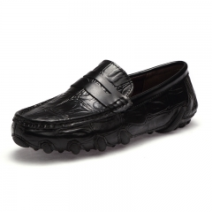 Cool Handsome Soft Moccasins Men Loafers Genuine Leather Shoes Men Flats Gommino Driving Shoes black 39