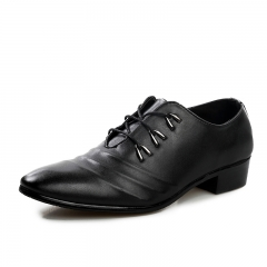 British Style Vintage Men Flats Split Leather Brogue Shoes Pointed Toe Casual Dress Business Shoes black 39