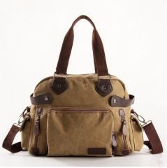 hot selling Men's Cross canvas bag Shoulder Messenger Briefcase Computer Bag Student leisure package khaki one size