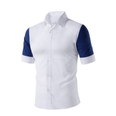 high quality men's short sleeve shirts Contrast color style cotton men's shirts leisure and business white m