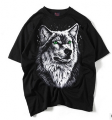100% cotton men short sleeve T-shirt 3D printed  wolf pattern and eagle logo hip-hop style T-shirts A s