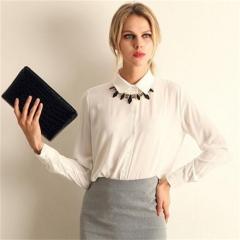 women pure color shirts turn-down collar chiffon blouse five colors five size white s