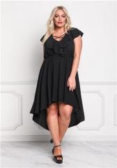 noble and elegant women long skirts lotus leaf sleeve waist dress sexy style black plus size black L