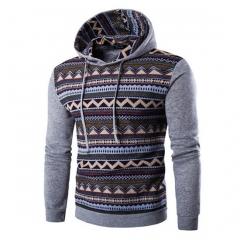 men hoodies fashion Hoodies & sweatshirts casual Ethnic style pattern print hombre fitness hoody Gray m