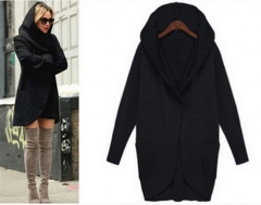 autumn and winter women long sleeves loose hooded woollen coat four colors black xl