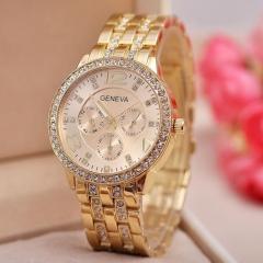 Geneva Unisex Stainless Steel Quartz Wrist Watch gold one size