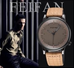 FEIFAN Brand Men Casual Quartz-watches Leather Strap Simple Wristwatches Fashion Men Watches black