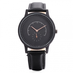 Unisex Fashion Watch Quartz watch with small seconds dial Leather Band Vintage Casual Brand black one size