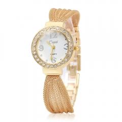 New Casual Luxury Brand Cussi Women Dress Watches Classic Bracelet Rhinestone Quartz rose gold Watch gold