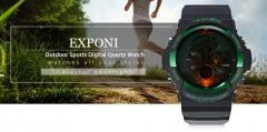 EXPONI Men's adult fashion sports watch electronic movement watch men relogio feminino women watches gold one size