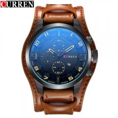 Curren Men Watches 2017 Top Brand Luxury Watches Men Army Military Male Sports Quartz-Watch Brown black orange one size