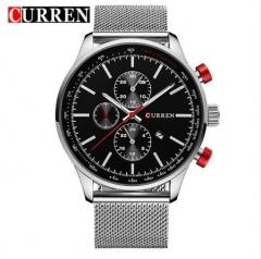 CURREN Watches Luxury Brand Full Steel Fashion Quartz-Watch Casual Male Sports Wristwatch Date 822 silver black one size