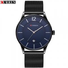 2017 Luxury Brand CURREN Watches Display Date Man Ultra Thin Full Steel Military Male Quartz-Watch black+blue one size