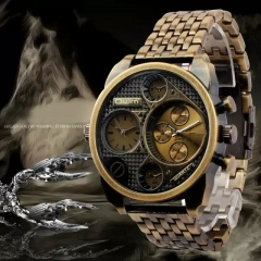 Oulm Luxury Brand Men Full Steel Quartz Watch Golden Big Size Men's Watches Antique Military Watch rose gold one size