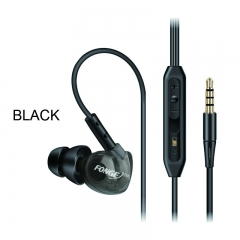 Music Earphone Sport Waterproof In-ear Headphone with line control&Mic for Phone PC Laptop Tablet black