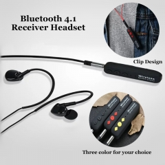 Bluetooth 4.1 Receiver Headset Wireless Muisc Headphone Clip-on Design Binaural Stereo Earphone black