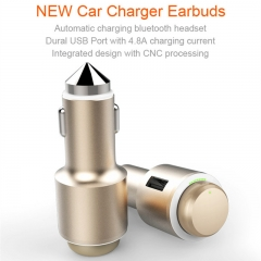 2 in 1 Wireless Bluetooth 4.1 Headset Headphone Earphone with Smart Double USB Car Charger gold