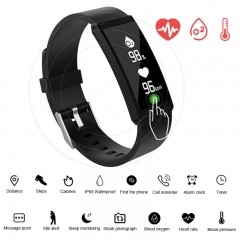 Bluetooth Smartwatch Sport IO68 Waterproof Smart Bracelet Heart Rate Smart Wristband Fitness Tracker black 25cm
