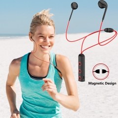 Bluetooth 4.1 Headset Magnetic Absorption Design Wireless Music Headphone HIFI Stereo Earphone black