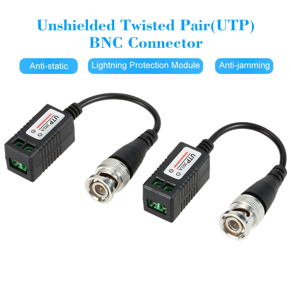 Video Balun Bnc Connector Cat5 Utp Coaxial Cable Adapter Twisted Pair 2 Passive Transceiver Image