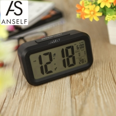 Anself LED Digital Alarm Clock Snooze Light-activated Sensor Backlight Time Date Temperature Display