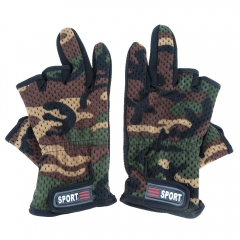 Outdoor Anti-slip Breathable Wear Resistant 3 Low-Cut Fingers Fishing Gloves Camouflage one size