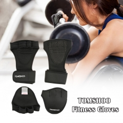 TOMSHOO Weightlifting fitness Gloves with Wrist Wrap Hand Grip Pads Bundle Set for Cross Training Black L