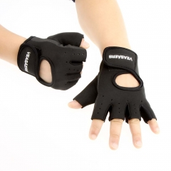 Men & Women Sport Fitness Cycling Gym Half Finger Weightlifting Gloves Exercise Training Gloves Black M