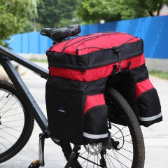 ROSWHEEL 60L Cycling Bicycle Bag Bike Double Side Rear Rack Tail Seat Trunk Bag Pannier Red&black