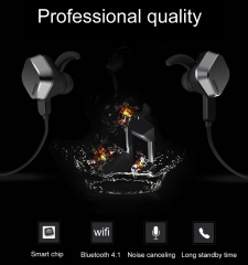 Remax Magnet Headset Wireless Sports Bluetooth 4.1 In-Earphone Stereo Headphone with Microphone black