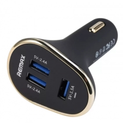 Remax 3 USB Port Cigarette Lighter Universal Car Charger Adapter 5V 6.3A For Android IOS Phone Pad Black 8cm*2cm