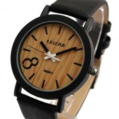 Fashion Leather Strap Simulation Wooden Men/Women Quartz Watch Unisex Wrist Watch black 20