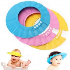 PVC Adjustable Soft Baby Shampoo Shower Cap Baby Care Bath Protection For Kid cap blue adjustable
