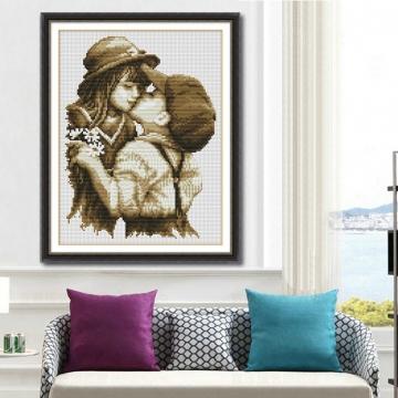 Embroidery Cartoon Kiss Handmade Needlework Cross Stitch Set Cross-Stitching Home Decoration colorful 30cmX40cm