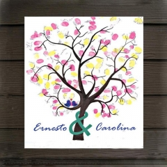 Wedding Guest Book Anniversary Wedding Signs Painting Personalize Fingerprint Tree one color 30cmx40cm