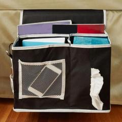 Tissue Holder Organizer 6 Pocket Bedside Storage bag Hang Sundries Magazines phone black