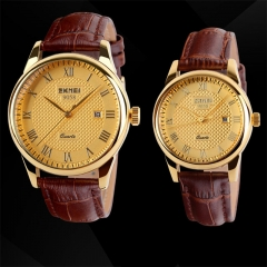 SKMEI Men's and women's Business Boutique Couple  Watches women&brown&gold