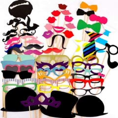 Photo Booth  60PCS Hat Mustache Party Masks Lips On A Stick WeddingDecoration Birthday Christmas Normal 60pcs