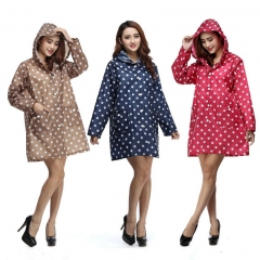 Women Dot Pockets Cagoule Waterproof Rain Coat Outdoor Travel Camping Hiking Raincoat blue