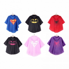Kids raincoat for children Rainwear impermeable Rainsuit Kids Waterproof Supermen rain  poncho pink superman